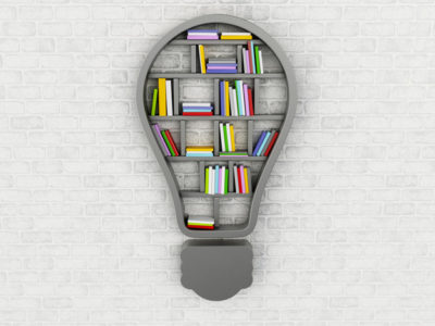 ۳d renderer image. Bookshelf in form of bulb. Inspiration, creative and new idea concept.